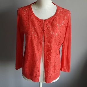 August Silk Floral Lace Front Cardigan